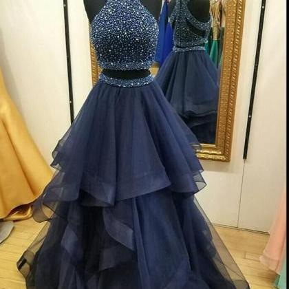 P72 Dark Navy Halter Two Piece Prom..