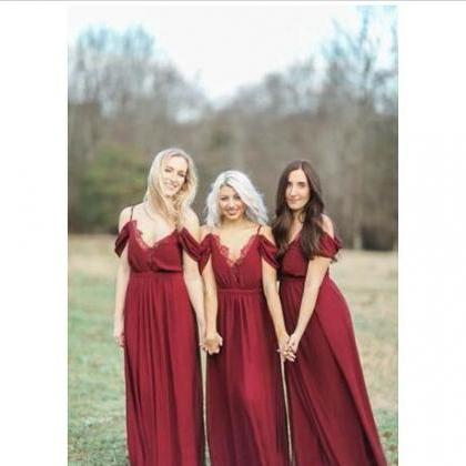 F286 Country Dark Red Chiffon Bride..