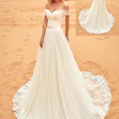 F455 Beach Wedding Dresses,Long Lac..