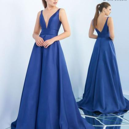 X8 A Line Long Satin Blue Prom Dres..