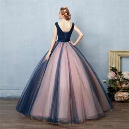 F534 Navy Blue And Pink Prom Dresses,Ball Gowns Prom Dresses ...