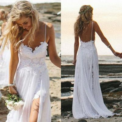 XW24 Spaghetti straps Sexy Beach Wedding Dresses,Long Wedding Dresses,Backless Wedding Dresses,Lace Beach Wedding Dress,Sexy Backless Lace Chiffon Wedding Dress