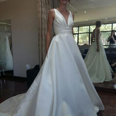 XW111 V-neckline backless Empire chapel train satin wedding dresses bridal dresses,a line long satin wedding dress,formal elegant satin wedding dress,v neck sexy wedding dress