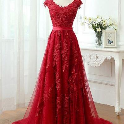 P66 Charming Red Tulle Applique Lace Prom Dress,Long Cap Sleeve Evening Dresses,Red Lace Prom Dresses,A Line Long Lace Red Prom Dress,Cap Sleeve A Line Long Lace Red Prom Dress,Red Full Lace Evening Dress