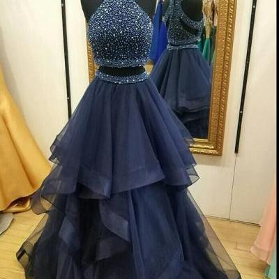 P72 Dark Navy Halter Two Piece Prom Dress,A Line Formal Party Dress,High Neck Navy Blue Tulle Beading Prom Dress,Two Piece Long Beading Prom Dress,Sexy Two Piece Evening Dress,High Neck Two Piece Evening Dress
