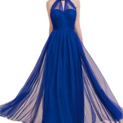 A-Line Princess Scoop Neck Floor-Length Tulle Royal Blue Bridesmaid Dress With Ruffle Bow,A Line Long Royal Blue Tulle Prom Dress,Long Tulle Royal Blue Evening Dress