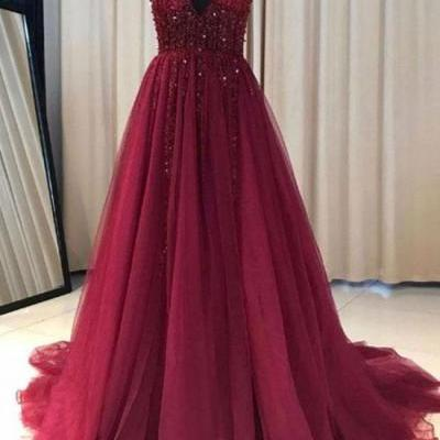Elegant Red Wine Tulle Beaded V-neckline Prom Dresses,V Neck Long Tulle Party Dresses, Formal Gowns 2018,A Line Top Beading Red Wine Long Tulle Prom Dress