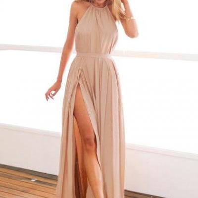 Halter Nude Maxi Dress,Sexy Backless Prom Dress, Slit Prom Dress,Nude M-slit Halter Dress,Party Dress,Haler Neck Backless Long Chiffon Prom Dress,Nude Color Long Chiffon Evening Dress