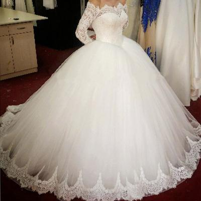 F385 lace long sleeves tulle ball gowns wedding dresses off the shoulder Wedding Bridal Gowns,Ball Gown Prom Dress