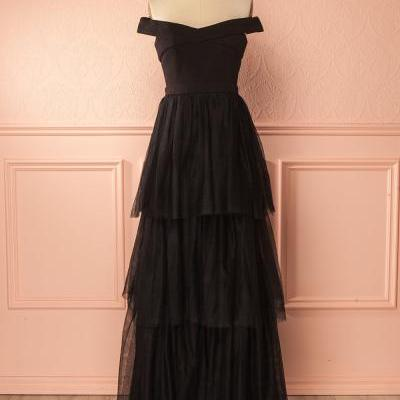 Off the Shoulder A Line Long Tulle Black Cheap Prom Dress,Long Tulle Simple A Line Tulle Evening Party Dress,Off the Shoulder Long Tulle Black Prom Dress