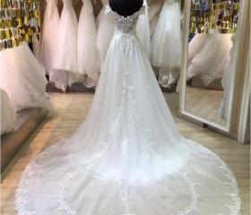 XW49 A Line Lace Wed..