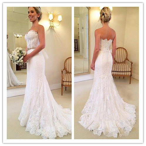 114280c6aafc Strapless Sweetheart Lace Mermaid Wedding Dress with Corset Bodice and  Beaded Waistband