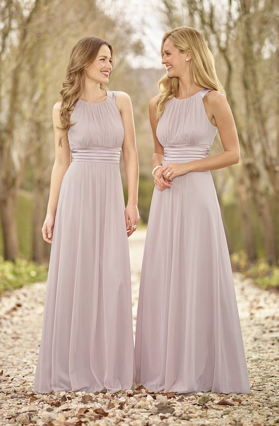 F54 Halter Chiffon Bridesmaid Dresses Long Cute Simple