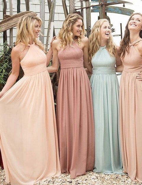a61b27b2ac Custom Made Cream Coloured Halter Neckline Chiffon Long Bridesmaid Dress
