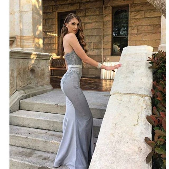 F85 Strapless Mermaid Long Grey Prom Dress Bridesmaid Dress On Luulla