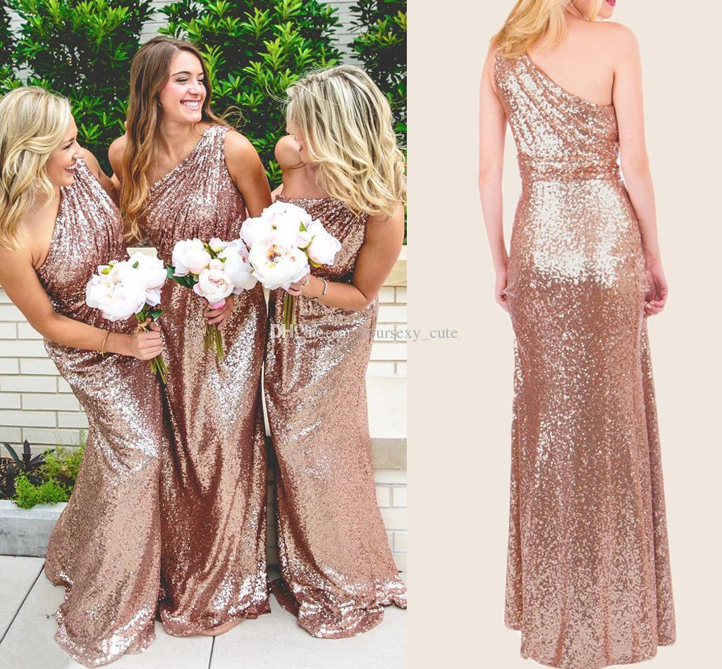 F106 Rose Gold Sequins Bridesmaid Dress Long One Shoulder