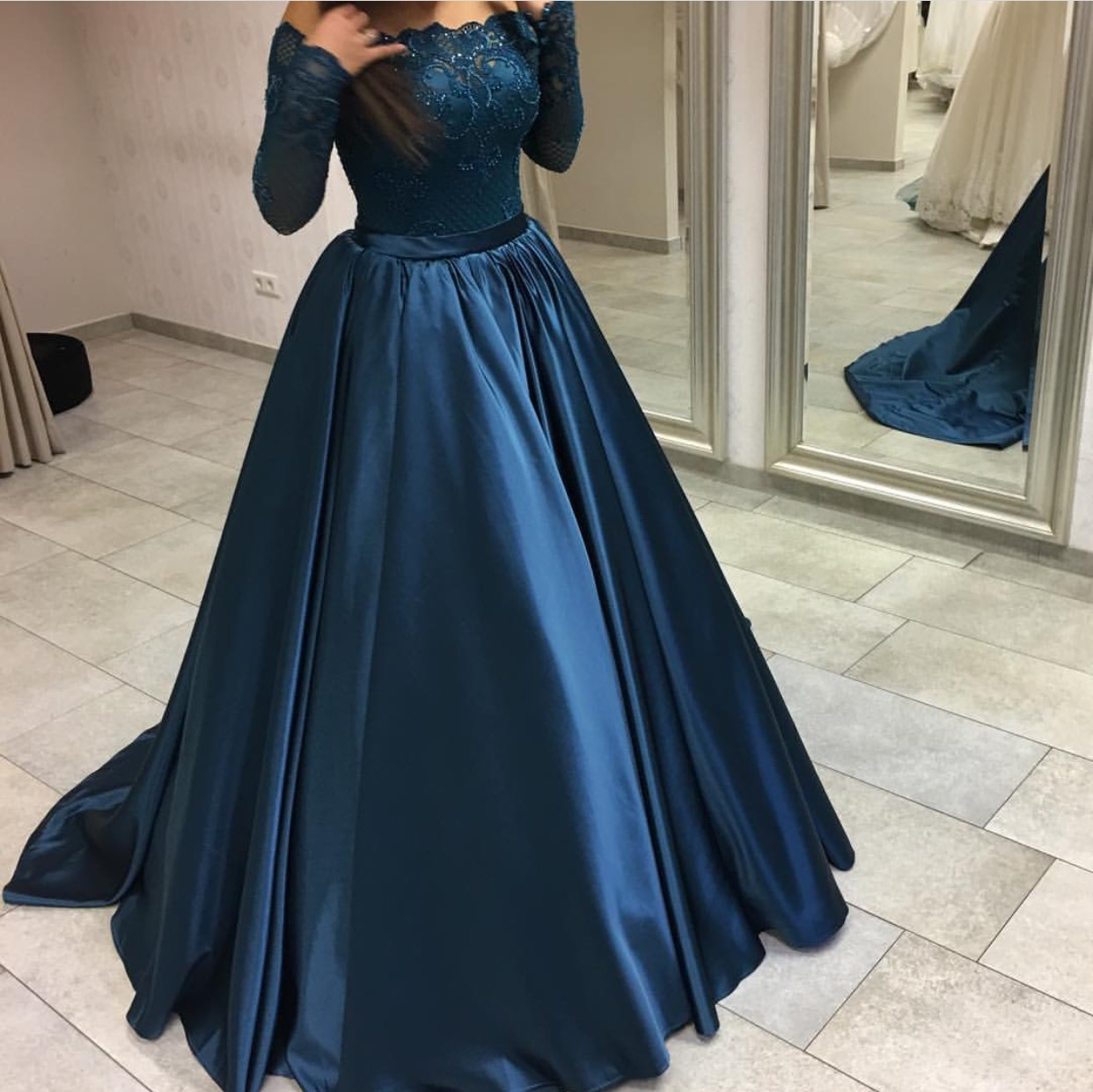 4840b556f0 P80 Navy Blue Satin Long Sleeves Prom Dresses Ball Gowns