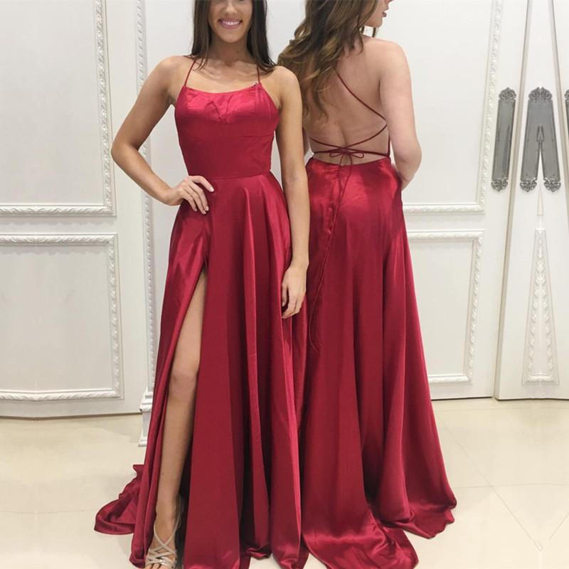 P95 Long Satin Open Back Prom Dresses 2018 Leg Slit Evening Gowns ...