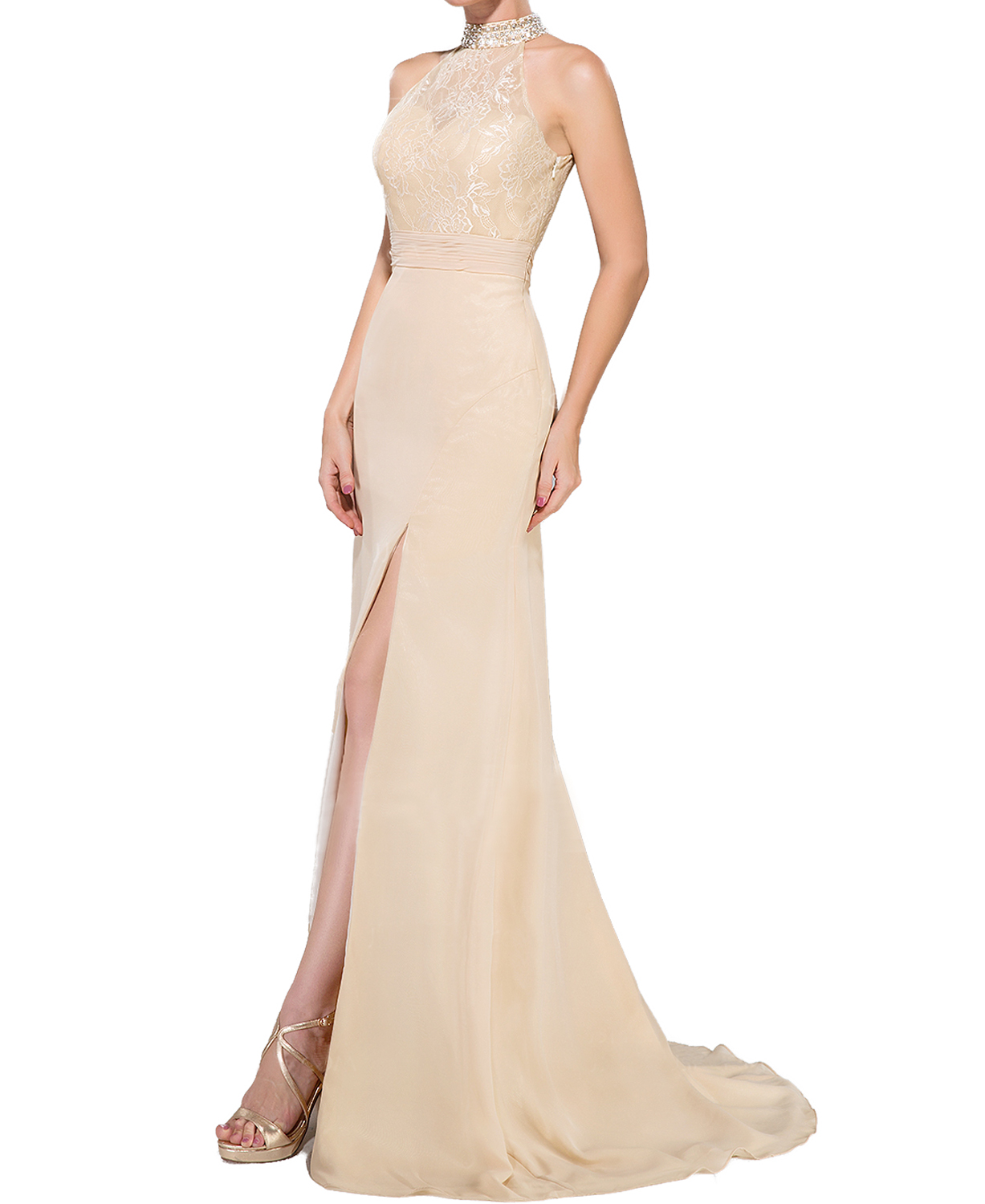 P105 Trumpet Mermaid High Neck Sweep Train Chiffon Lace Evening Dress With Ruffle Beading Sequins Split Fronthalter Neck Lace Mermaid Champagne