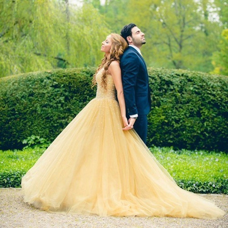 F280 Beautiful Long Yellow Prom Dresses With Crystal Tulle