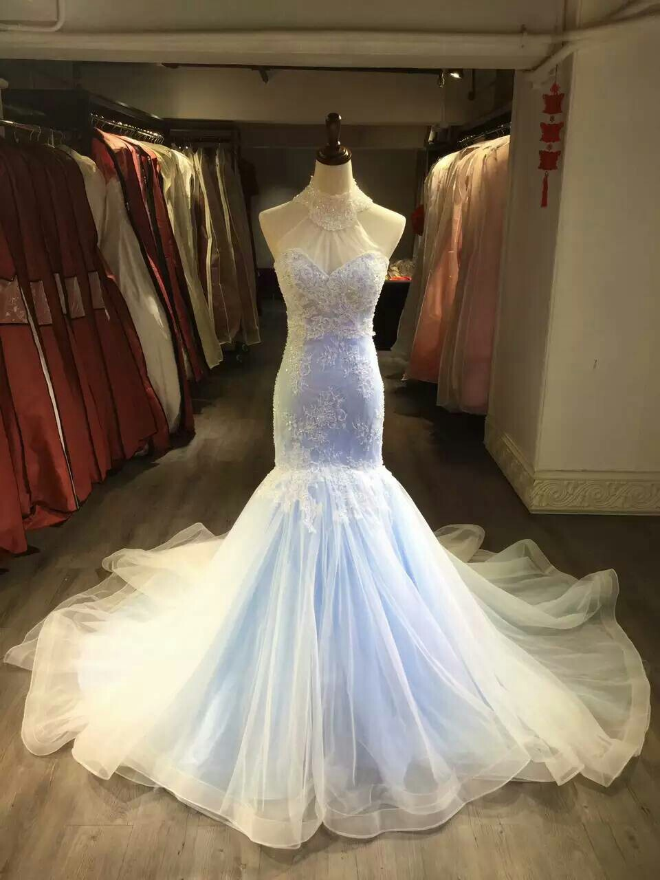 Mermaid Lace Wedding Dress Colorful Bridal Dress Halter Neckline Mermaid Light Blue Wedding Gown High Neck Long Mermaid Sexy Wedding Dress