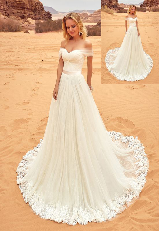 F455 Beach Wedding Dresses,Long Lace Wedding Dresses,Handmade Wedding Gowns,Ivory Wedding Dresses,Simple Bridal Dresses, DR0153