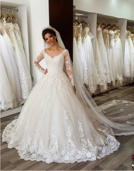 b8ca9c6d189d A line Long Sleeves Lace V-neckline Wedding Dress,V Neck Off Shoulder A  Line Long Sleeves Lace Wedding Dress,Elegant Long Sleeves Lace Bridal Dress