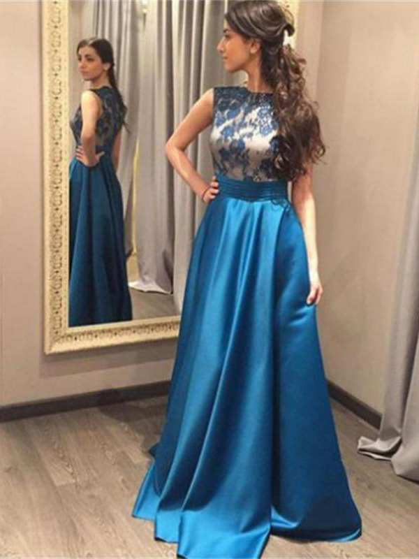 F482 Blue Prom Dress,Lace Prom Dresses,Long Prom Dresses,Classy Prom ...