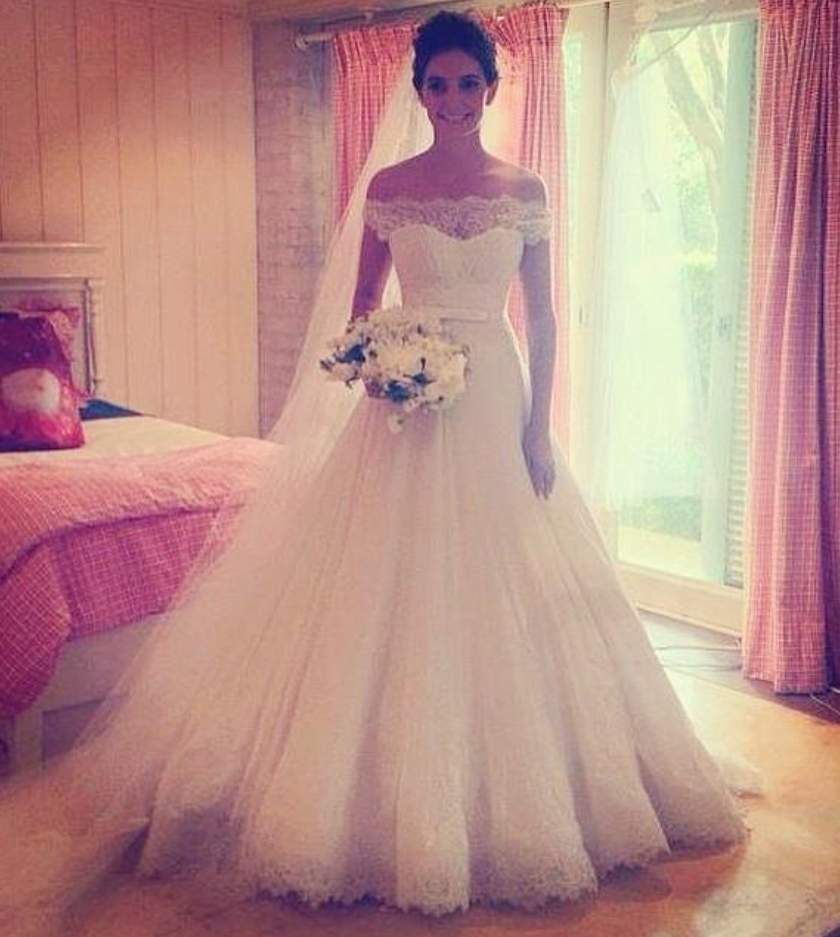 W1195 White Wedding Dresses Off The Shoulder Wedding Gown Lace