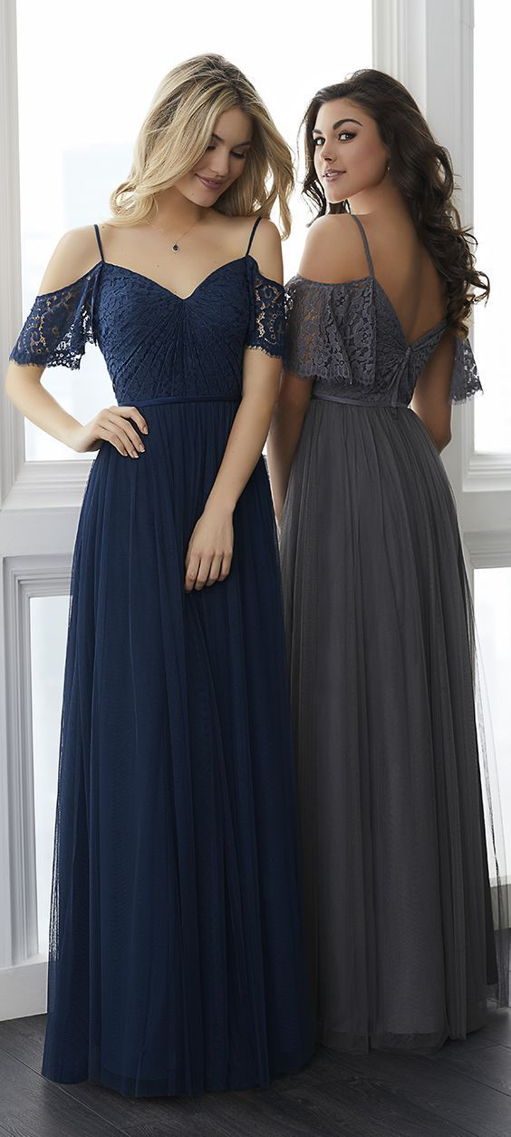 cc9a8371f2c B1043 spaghetti Strap Lace Chiffon Bridesmaid Dresses Royal Blue Long  Bridesmaids Dresses Chic Wedding Party Dress
