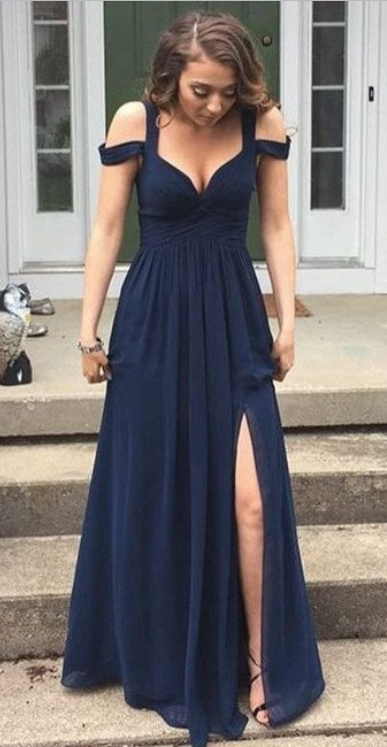 ff04e41d4f F640 Simple Cheap Long Navy Blue Chiffon Prom Dresses For Teens