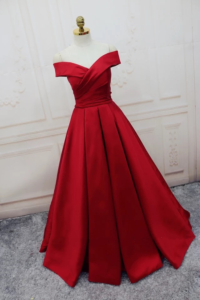 F673 Charming Satin Prom Dress, Plus Size A Line Prom Dress,Red Woman  Evening Dress,Formal Evening Dresses, Simple Prom Dress, Lace-up Prom  Dresses, ...