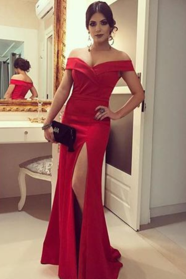 P1142 Red Mermaid Prom Dress, Sexy Split Prom Dresses, Long Evening Dress,Off the Shoulder Long Red Sexy Evening Dress with Side Split