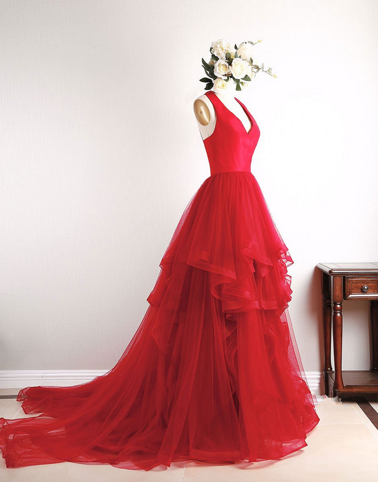539b3c2027f P1144 Red Tulle Sweetheart High Low Pretty Prom Dresses Red Gowns ...