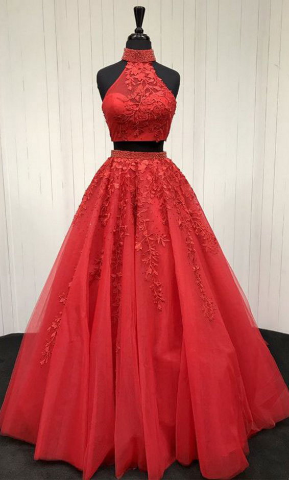 P1154 Sexy Red Two Piece Prom Dresses Evening Dresses with Appliques,High Neck Two Piece Long Red Lace Tulle Prom Dress,A Line Elegant Long Tulle Red Lace Evening Dress