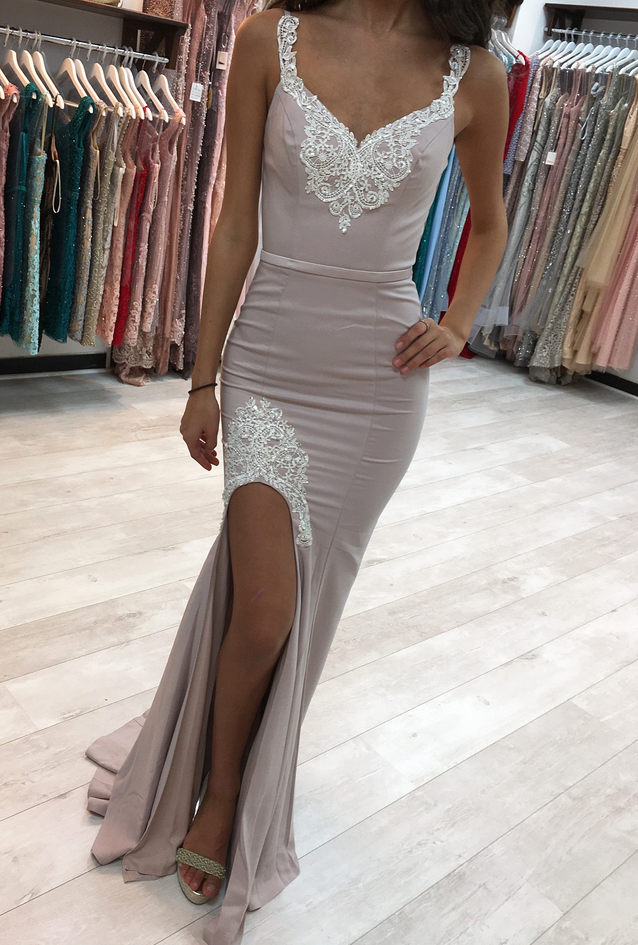 P1173 Split Side Evening Party Dress, Sexy Mermaid Prom Dress, Appliques Formal Dress,Spaghetti Straps Sexy Mermaid Evening Dress with Side Split,Long Sexy Side Split Lace Mermaid Evening Gown