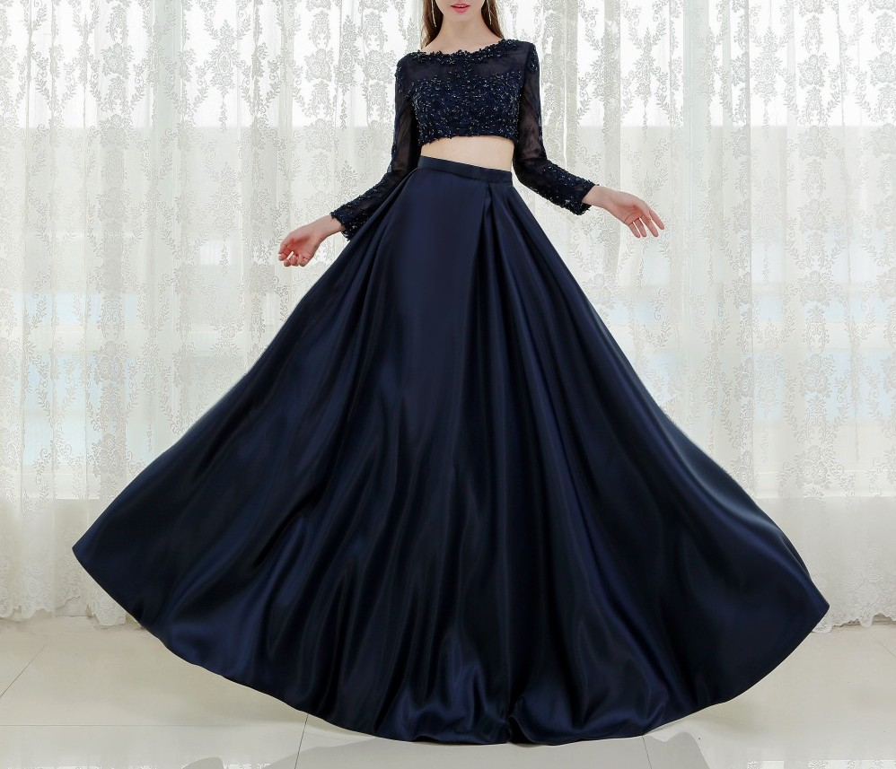 F689 Vestido Longo Prom Dresses, Black Prom Dresses, Two-piece Prom Gown,Two Pieces Formal Evening Dresses, Long A-Line Appliques Elegant Vestido De Festa, Senior Prom Dress,Long Sleeve Dress,Evening Dress,Prom Dress