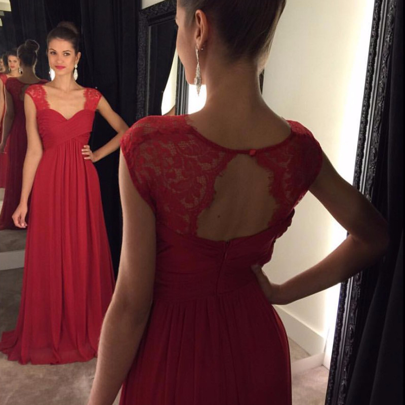 F691 Charming Formal Dress, A-line Long Prom Dresses, Lace Prom Evening Dress, Modest Cap Sleeves Chiffon Floor Length Red Prom Dresses,Prom Dress,Evening Dress