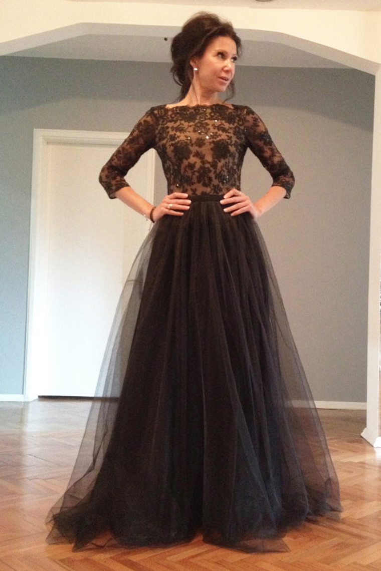 P1227 Charming Black Long Sleeve A Line Tulle Prom Dress With ...