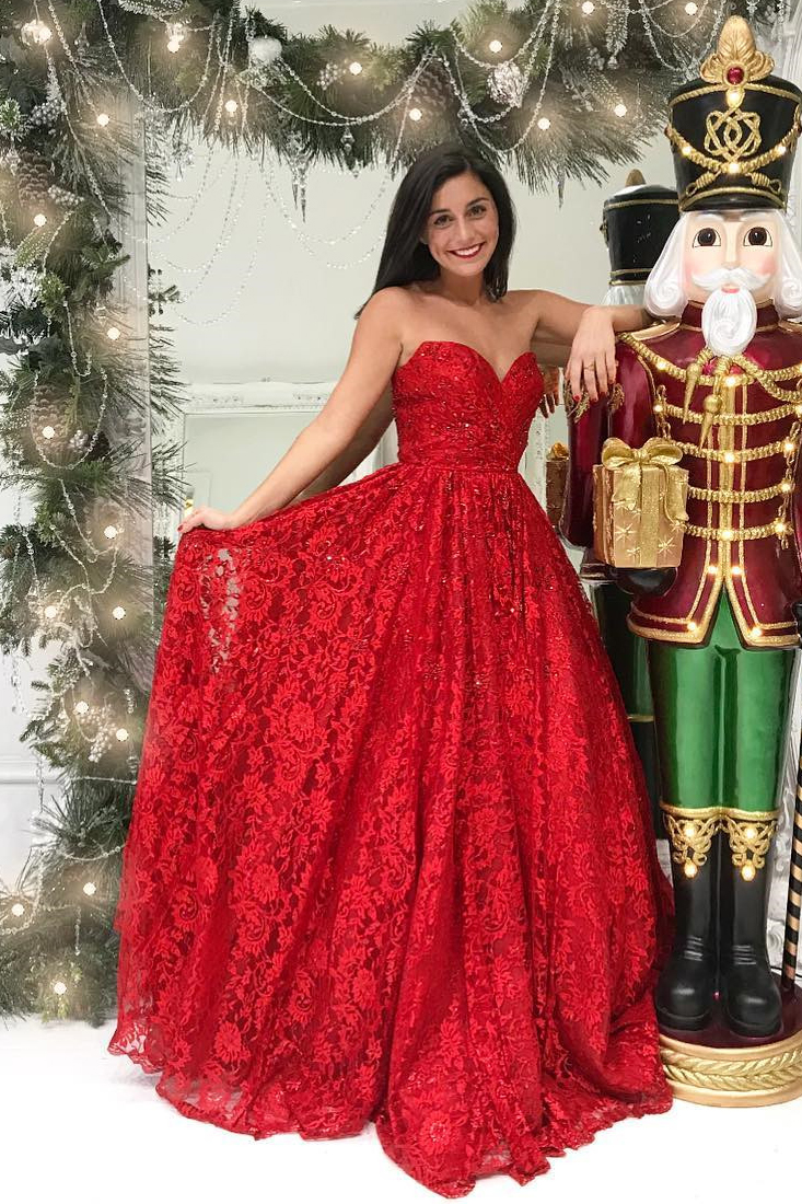 P1284 Princess Sweetheart Red Prom Dresses Full Lace Long Prom Dress,A Line Long Lace Strapless Elegant Simple Prom Dress,A Line Long Lace Red Evening Dress