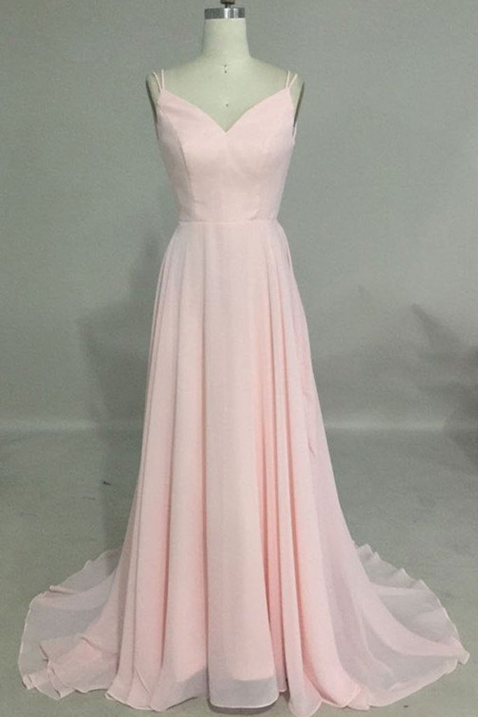 P1298 SIMPLE V NECK PINK LONG PROM DRESS, BACKLESS PINK EVENING DRESS,Spaghetti Straps A Line Long Chiffon Backless Pink Sexy Prom Dress,A Line Backless Long Chiffon Pink Sexy Evening Dress,Long Pink Bridesmaid Dress
