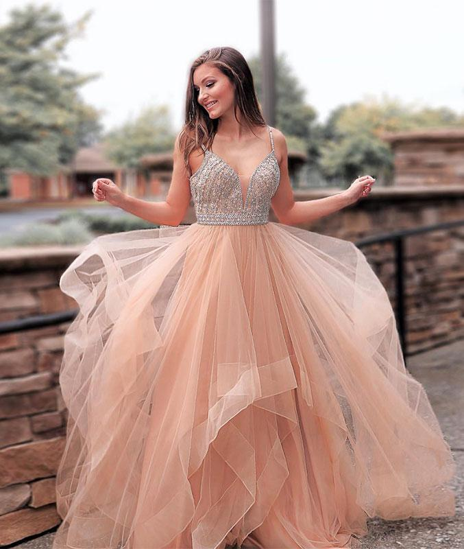 2019 Charming Spaghetti Strap Beaded Bodice Prom Dress,Pink Evening Dress with Tulle Skirt,Deep V Neck A-Line Ruffles Ball Gowns with Crystal