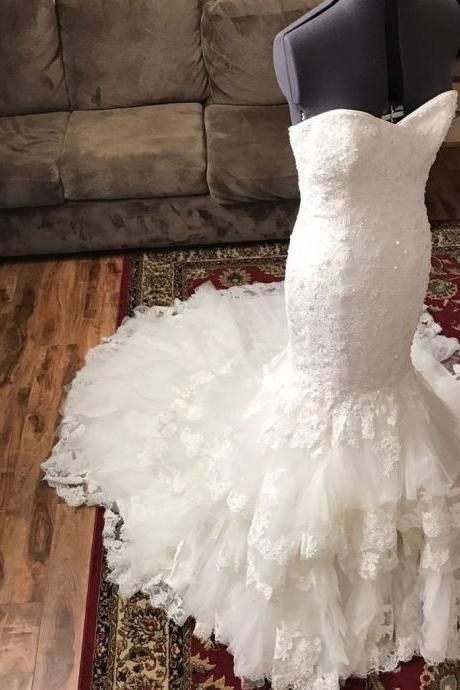 XW4 Romantic Sweetheart Bodice Corset Lace Mermaid Wedding Dress With Ruffles Skirt