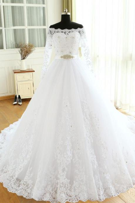XW16 Empire Wedding Dresses Chapel Train Long Sleeve Off The Shoulder Customized Cheap Brides Dress Long Bridal Gown,Ball Gown Off the Shoulder Long Sleeve Wedding Dress,Ball Gown Lace Wedding Dress,Long Sleeve Lace Bridal Dress