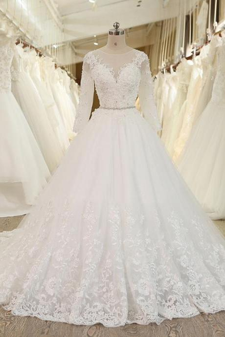 XW25 Ball Gown Princess Wedding Dress With Crystal Sash Long Sleeves Lace Bridal Gowns,Long Sleeve Ball Gown Lace Bridal Dress,Wedding Dress with Long Sleeves