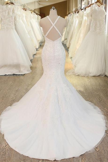 Halter Sleeveless Lace Appliqués Mermaid Wedding Dress Featuring Crisscross Back and Sweep Train