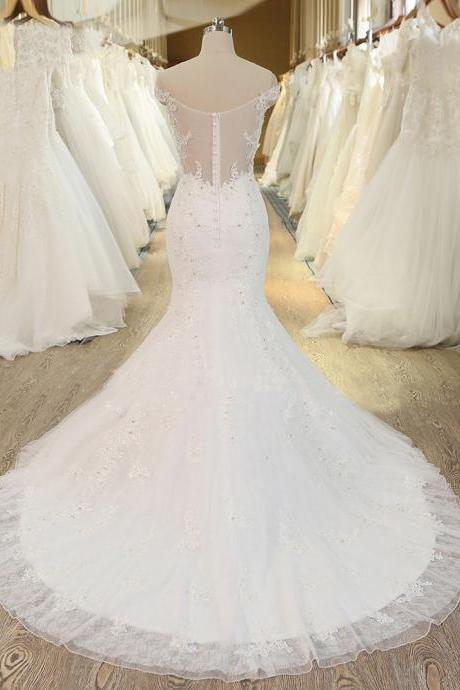 XW27 New Design Mermaid Wedding Dress Sexy Off The Shoulder Beaded Lace Bridal Dresses,Off the Shoulder Lace Mermaid Wedding Gown,Wedding Dress 2018,Sexy Lace Mermaid Bridal Dress