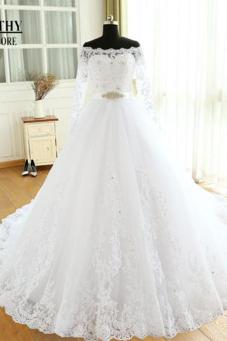 XW28 Off the Shoulder Ball Gown Lace Wedding Dress with Long Sleeves,Ball Gown Lace Bridal Dress with Long Sleeves,Long Sleeves Ball Gown Wedding Dress,Ball Gown Lace Bridal Dress