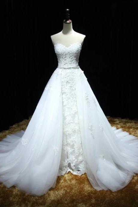 XW33 Sweetheart Full Lace Mermaid Wedding Dress featuring a Detachable Skirt and Train with Lace Up Back