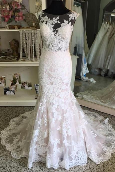 XW37 Vintage Cap Sleeves Lace Mermaid Wedding Dresses,Lace Mermaid Bridal Dress,New Arrival Sexy Wedding Gown